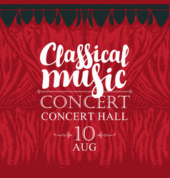 Classical music poster with red stage curtains vector