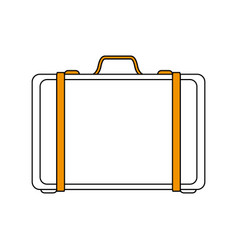 Color silhouette image travel briefcase with vector