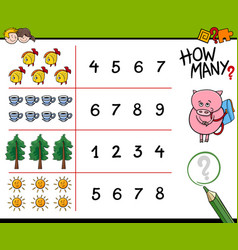 Counting activity for kids vector