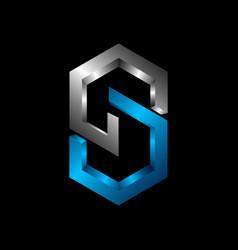 cs 3d letter logo design template c letter logo vector image