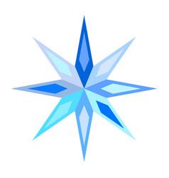 Cute blue symbolic motley snowflake star vector
