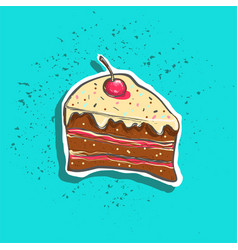 Cute hand drawn tasty cake peace with cherry on vector
