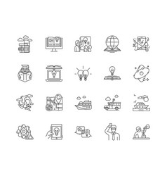 discovery line icons signs set outline vector image