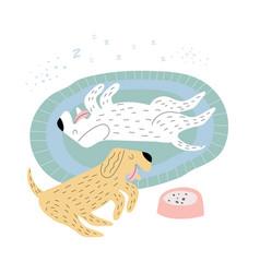 Dogs sleeping on a rug vector