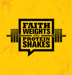 Faith weights and protein shakes inspiring vector