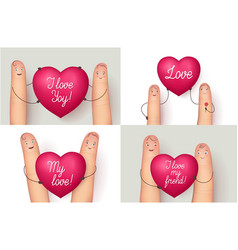 Fingers holding red love heart vector