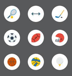 Flat icons puck american football kettlebells vector