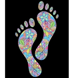 floral human footprints on black background vector image