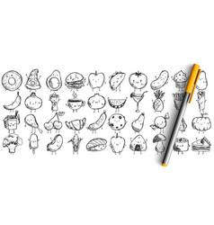 Food doodle set vector