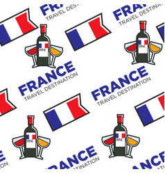 french wine glasses and bottle national flag vector image
