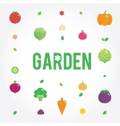 Garden with vegetables icons set seeds leaves vector image