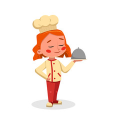 Girl professional chef character holding vector