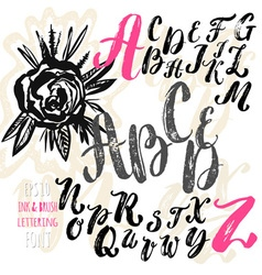 Hand made brush and ink typeface Handwritten retro vector