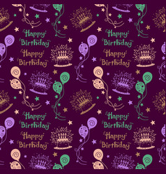 happy birthday pattern background with pastel vector image