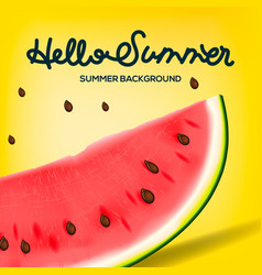 hello summer inscription on background of vector image