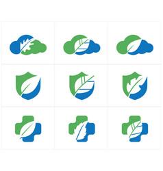 Herbal logo pharmacy icon leaf in shield vector