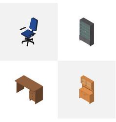 Isometric furnishing set of sideboard cupboard vector