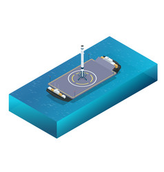 isometric take-off and landing a rocket from vector image