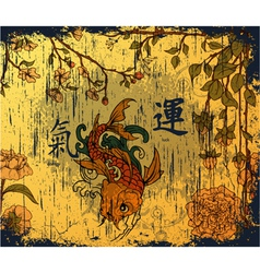japanese background with koi fish vector image
