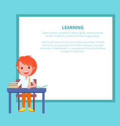 Learning banner with redhead boy with textbook vector