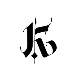 Letter k in gothic style alphabet the symbol vector