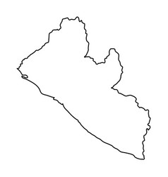 Liberia map of black contour curves on white vector