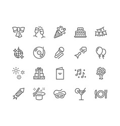 Line party icons vector