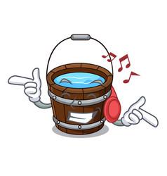 Listening music wooden bucket mascot cartoon vector