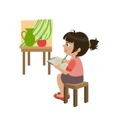 Little girl copying the painting vector
