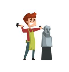 Male artist character making a sculpture human vector