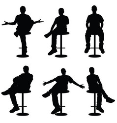 man silhouette sitting on bar stools vector image