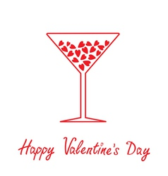 Martini glass with hearts inside Happy Valentines vector