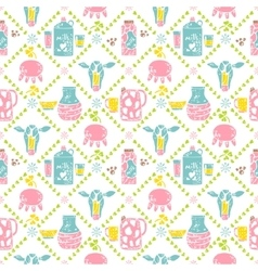 Milk seamless patternjar and cow vector