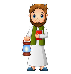 Muslim man holding lantern and quran with green sc vector