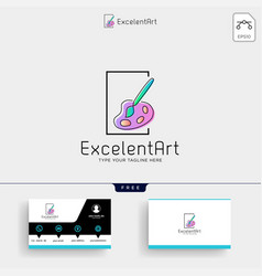 paintbrush artist logo template and business card vector image