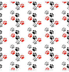 paw print seamless traces of cat textile pattern vector image