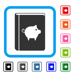 Pig handbook framed icon vector