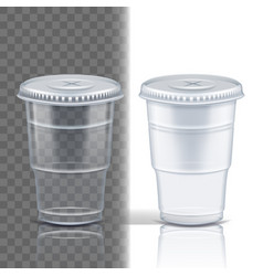 plastic cup transparent cafe cutlery vector image