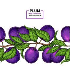 Plum branch seamless border hand drawn isolate vector