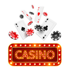 realistic poker casino poster vector image