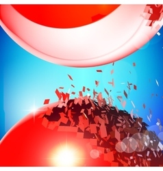 Red 3D balls exploded into pieces vector