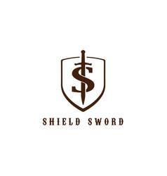 retro vintage initial letter s sword shield logo vector image