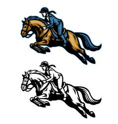 running equestrian horse mascot vector image