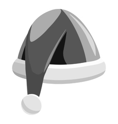 Santa hat icon gray monochrome style vector image