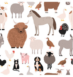 seamless pattern with domestic farm barnyard vector image