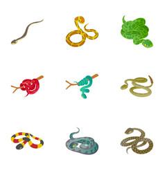 serpentine icons set cartoon style vector image