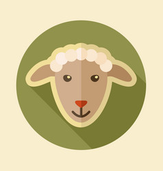 sheep flat icon animal head vector image