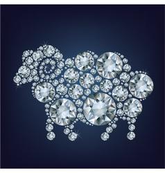 Sheep made up a lot of diamonds vector