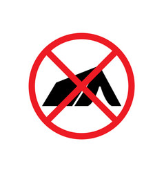 sign no camping tourist tent icon forbidden vector image