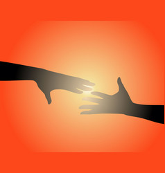 silhouettes of two hands vector image
